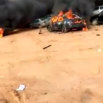 #Endsars: Hoodlums hijack protest, burn down car stand in Abuja!